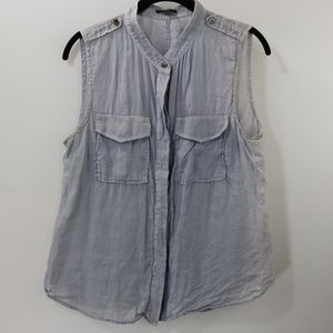 Theory Blue Button Down Top Size M